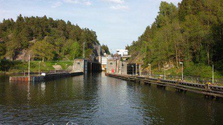 Slusstrappa med 4 slussar i Trollhättan.
